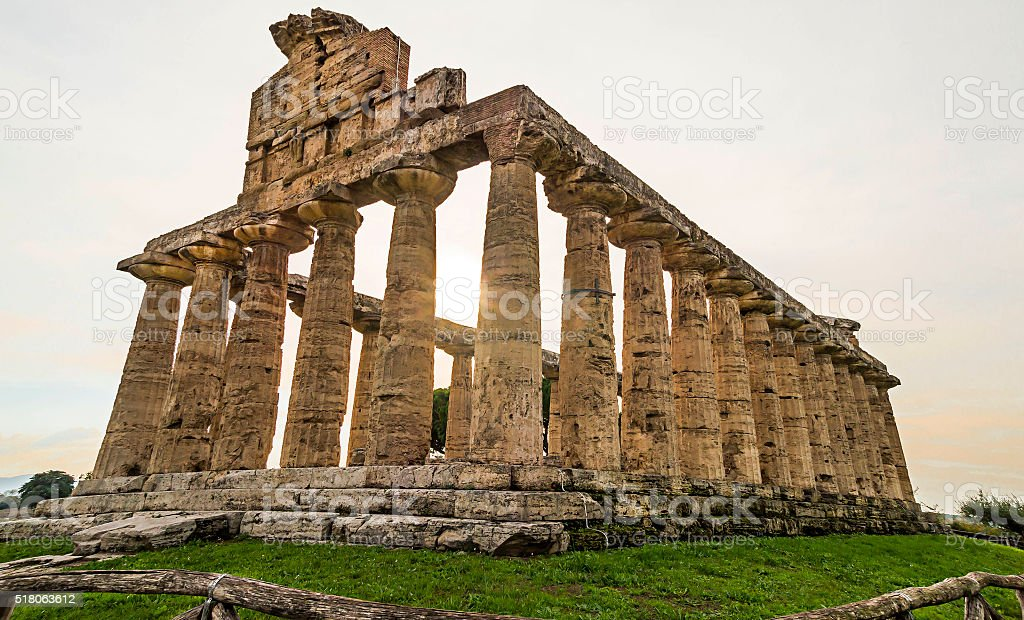 Autumn sunset at Paestum  temples,Italy stock photo