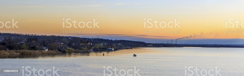 Autumn sunset on the river royalty-free stock photo