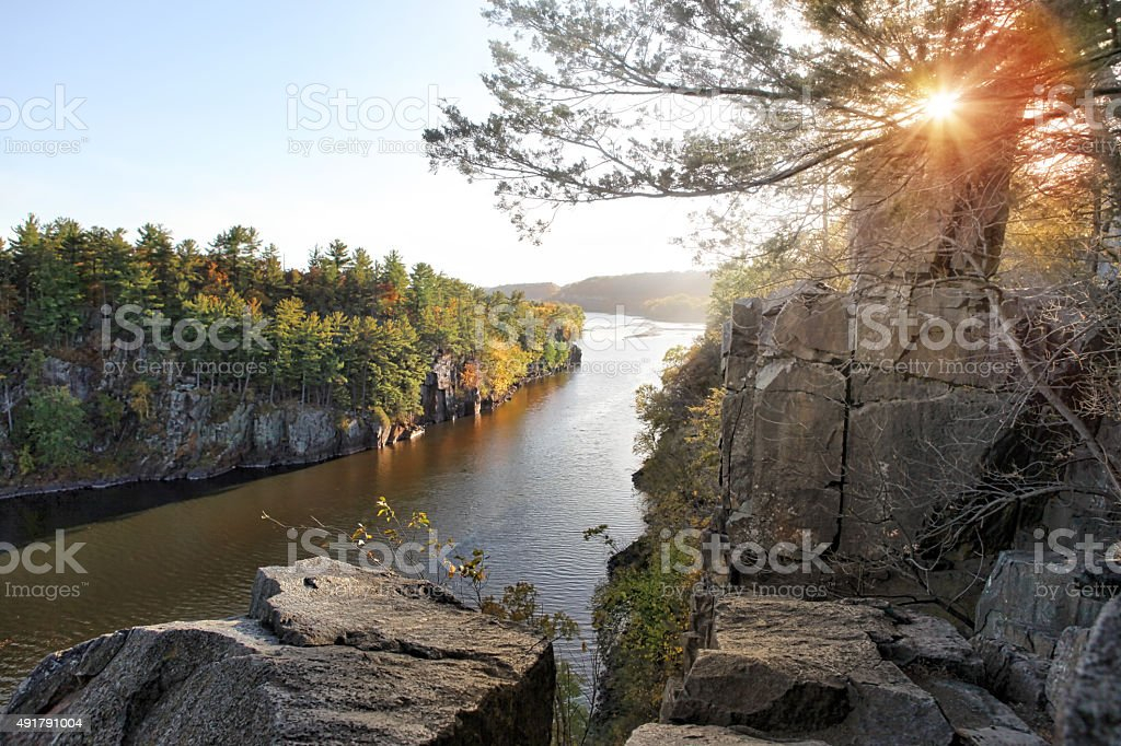Autumn Sunset On The St. Croix River at Taylor's Falls stock photo