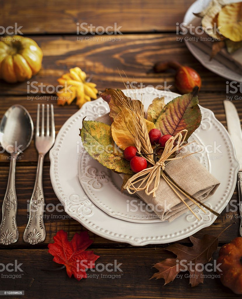 Autumn Table Setting stock photo