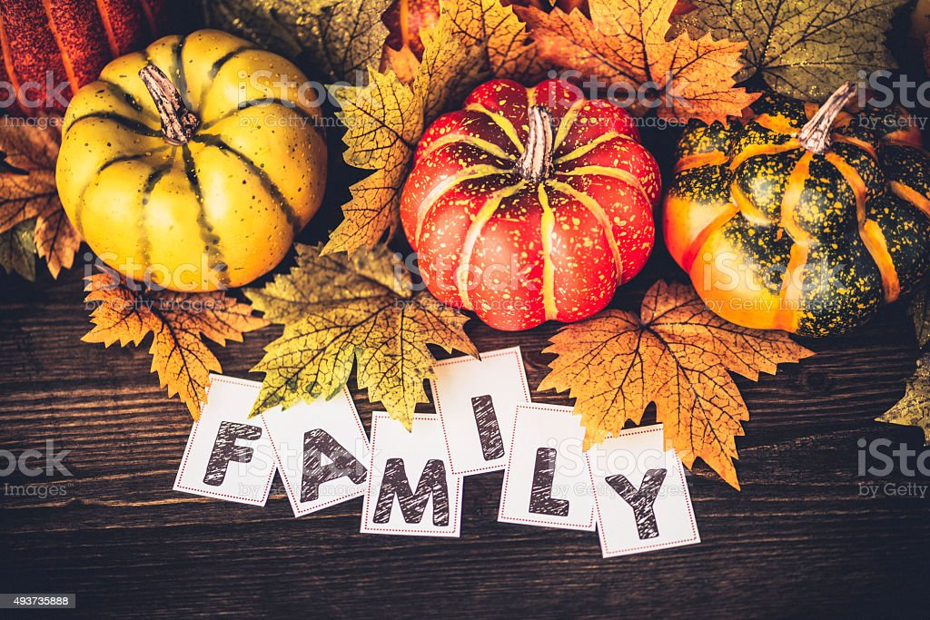 Autumn Thanksgiving arrangement with FAMILY message stock photo