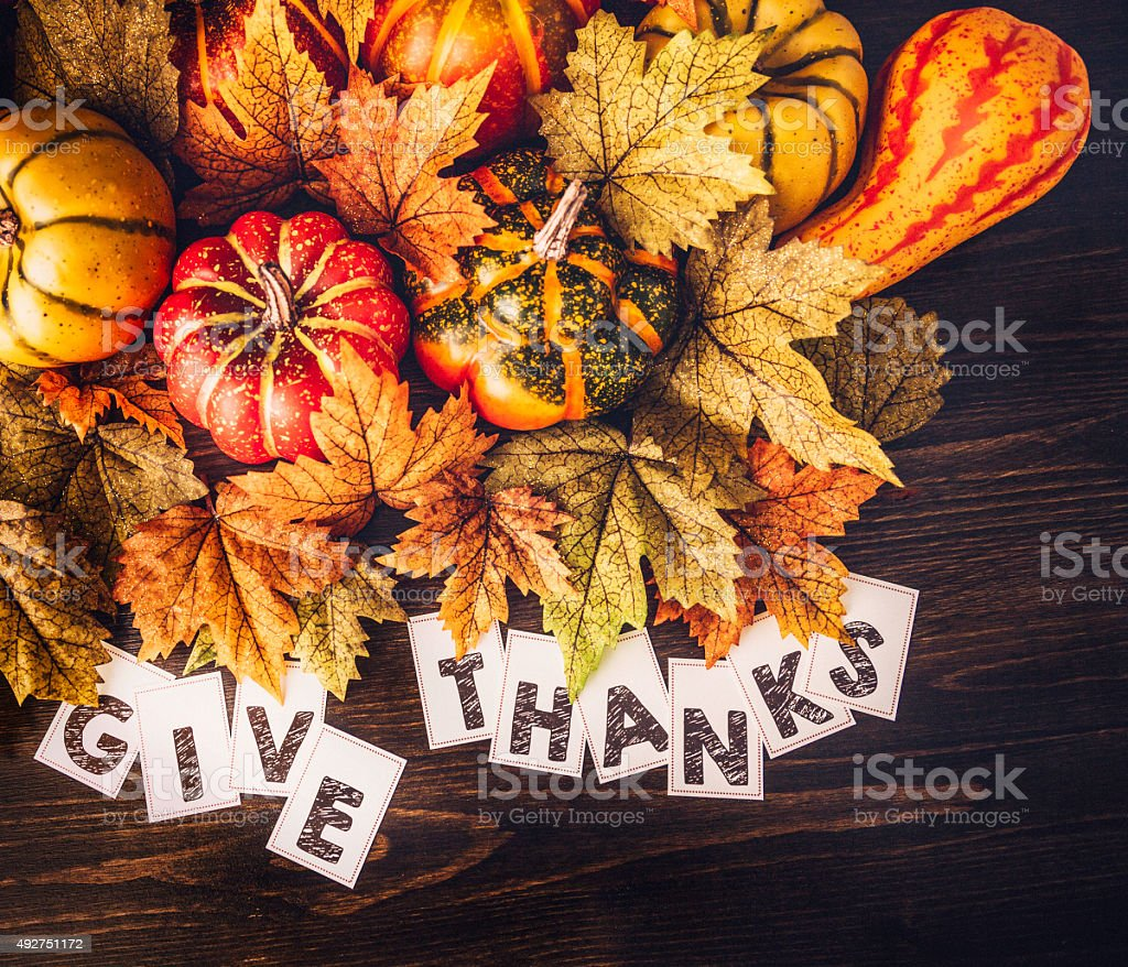 Autumn Thanksgiving arrangement with GIVE THANKS message stock photo