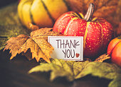 Autumn Thanksgiving arrangement with thank you message