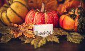 Autumn Thanksgiving arrangement with thankful message
