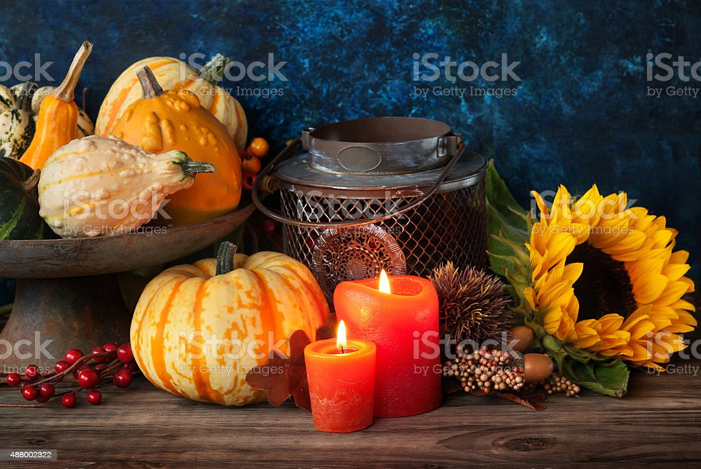 Autumn thanksgiving decor stock photo