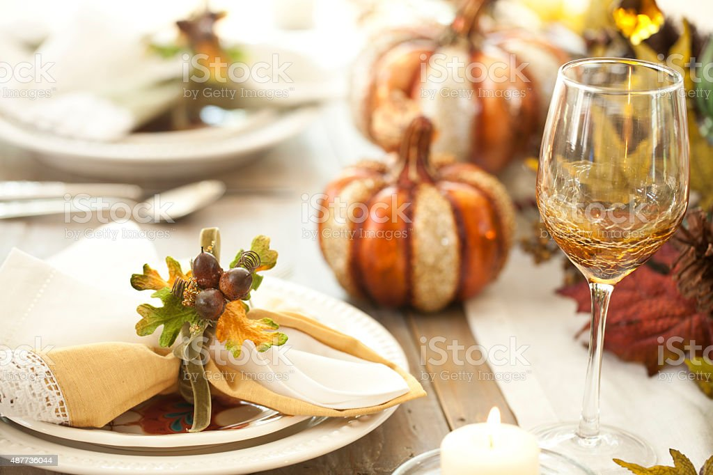 Autumn Thanksgiving Dining Table stock photo