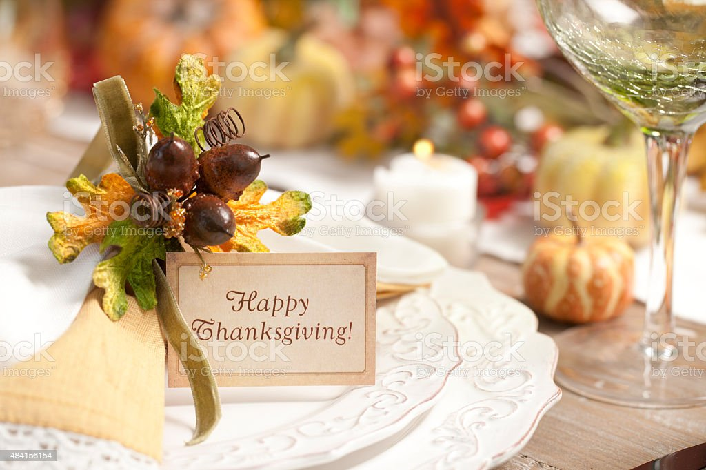 Autumn Thanksgiving Dining Table Place Setting stock photo