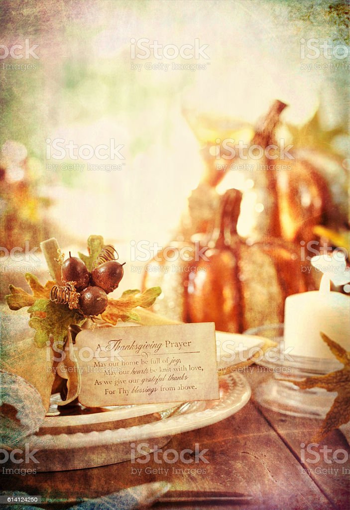 Autumn Thanksgiving Dining Table with Candle and Place Card stock photo