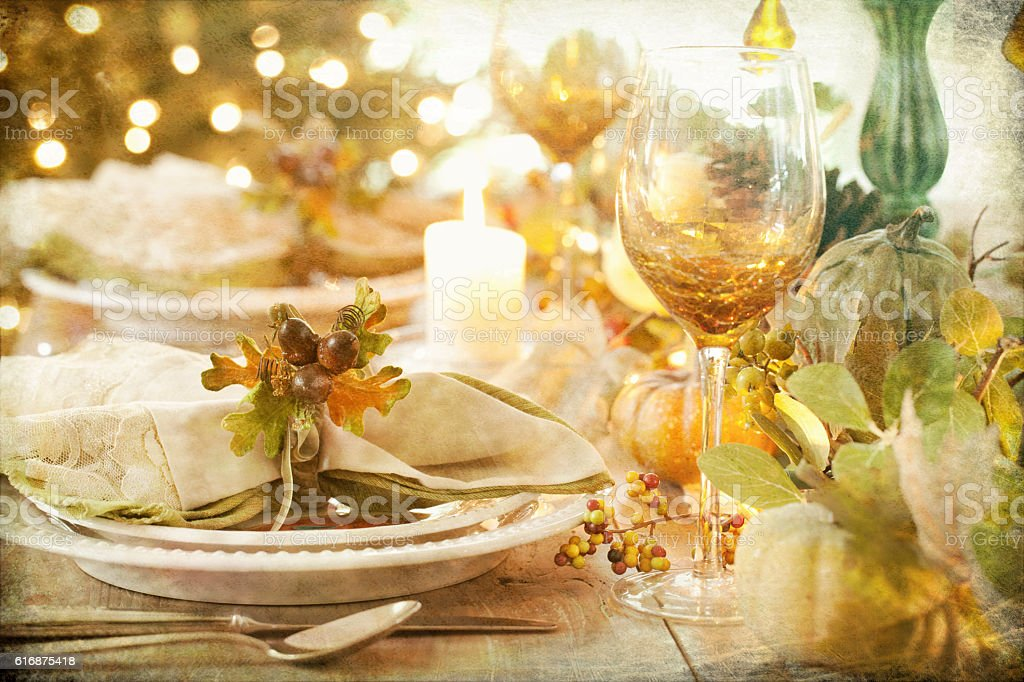 Autumn Thanksgiving Dining Table with Candle stock photo