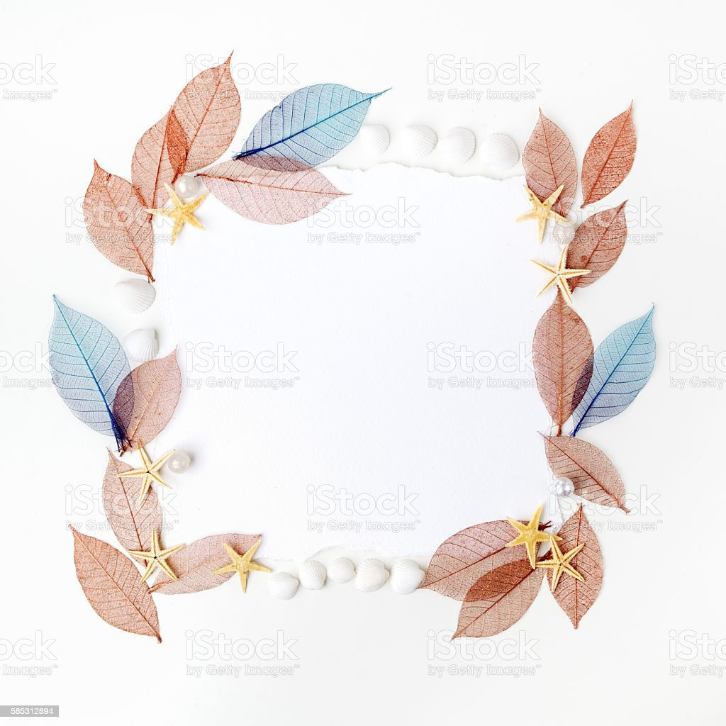 Autumn transparent leaves frame on white background. Flat lay. Top stock photo