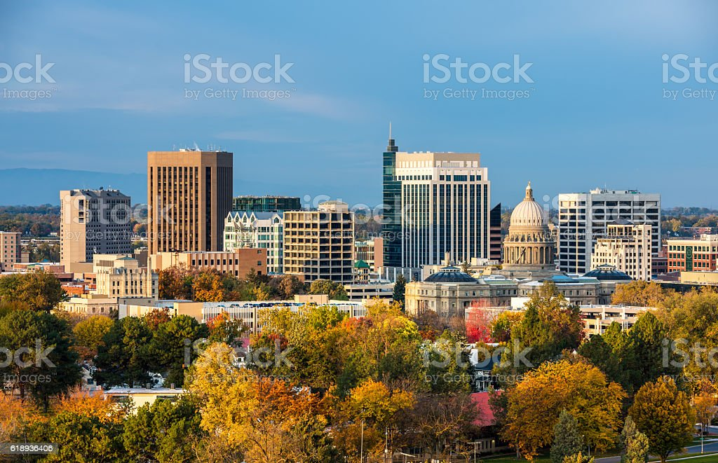 Autumn trees and the skyline of Boise Idaho stock photo