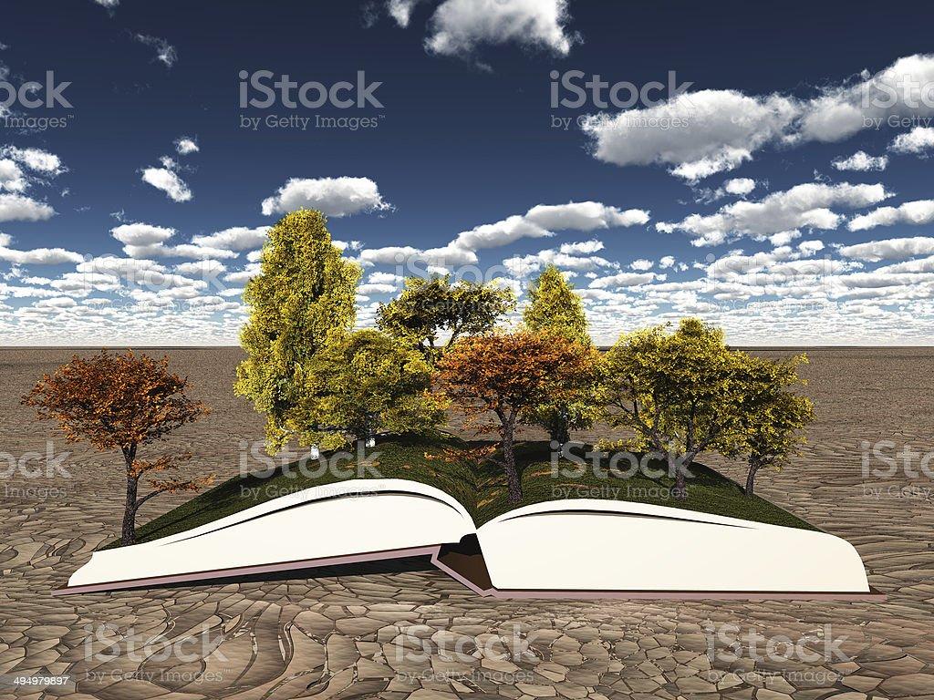 Autumn trees on book stock photo