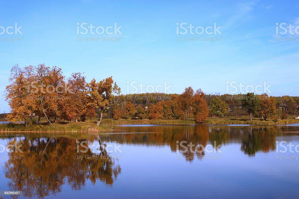 Jesienią drzewa na rzekę zbiór zdjęć royalty-free