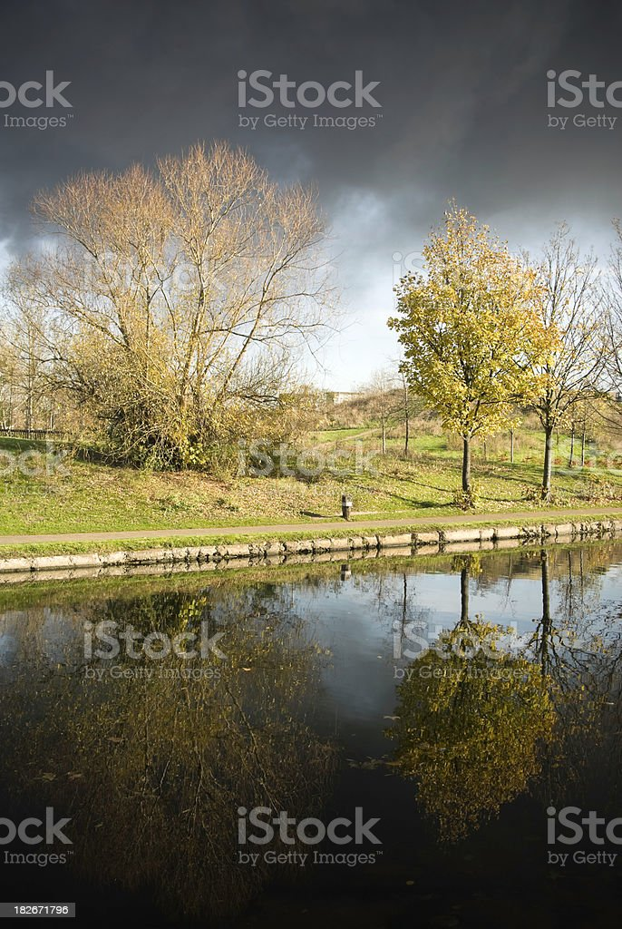 Autumn trees, reflection in river, beautiful scenery Victoria Park, London stock photo