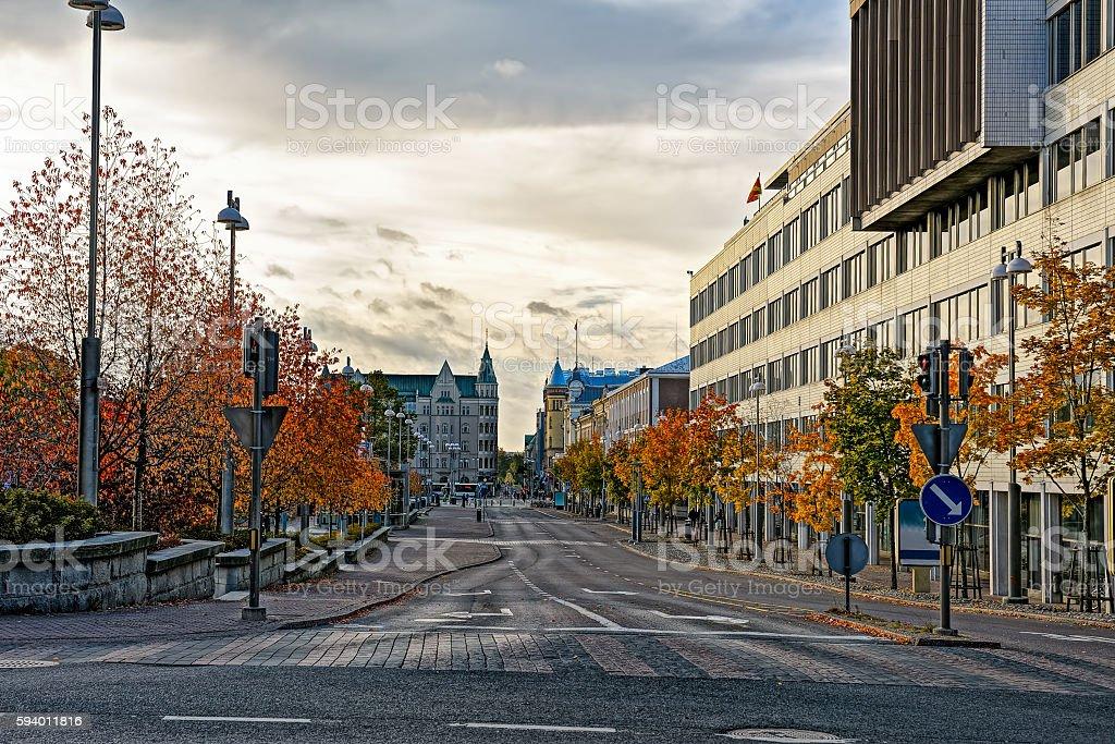 Autumn twilight in Tampere stock photo