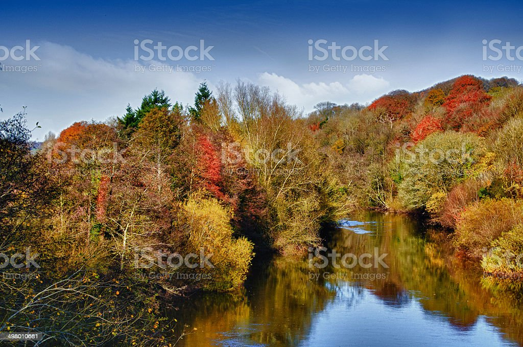 Autumn Usk stock photo