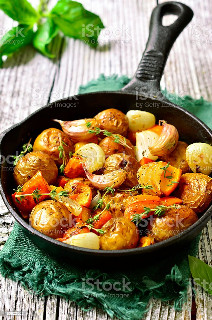Autumn  vegetable roast. stock photo