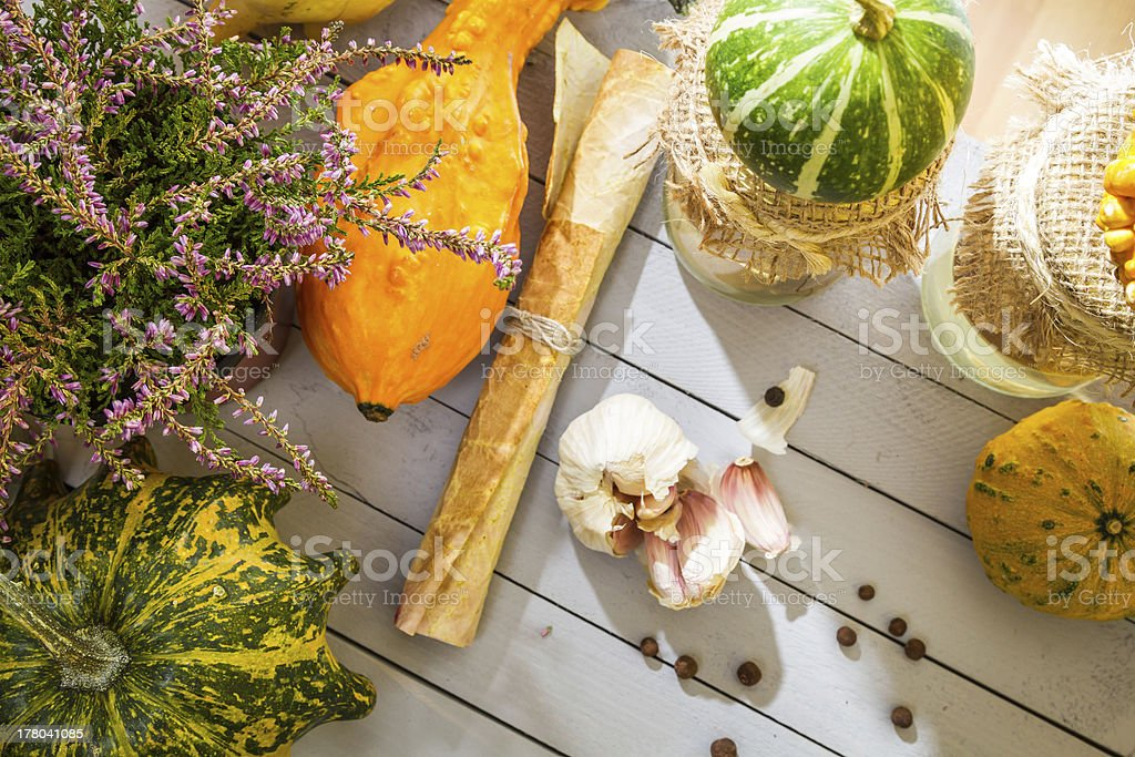 Autumn vegetables and mushrooms with the prescribe royalty-free stock photo