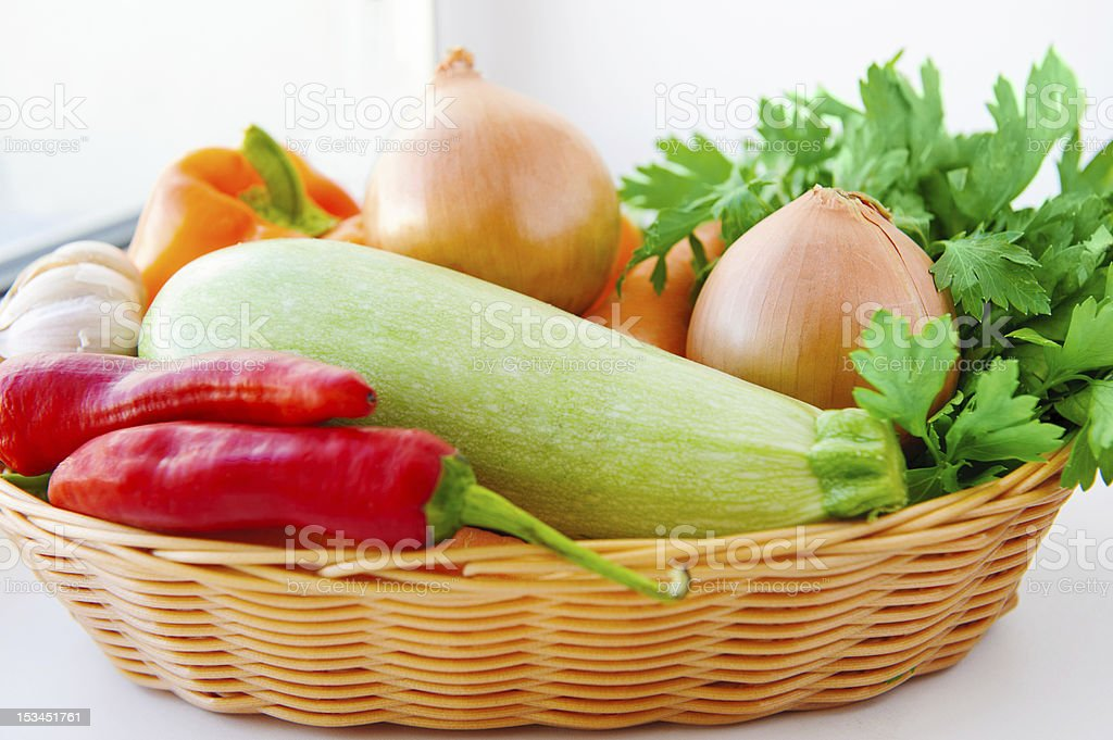 Autumn vegetables in basket royalty-free stock photo