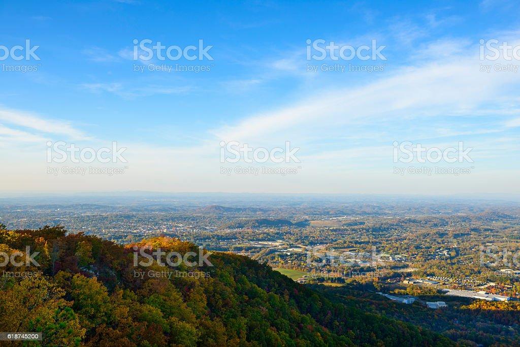Autumn view from Buffalo Mountain In Johnson City, TN stock photo