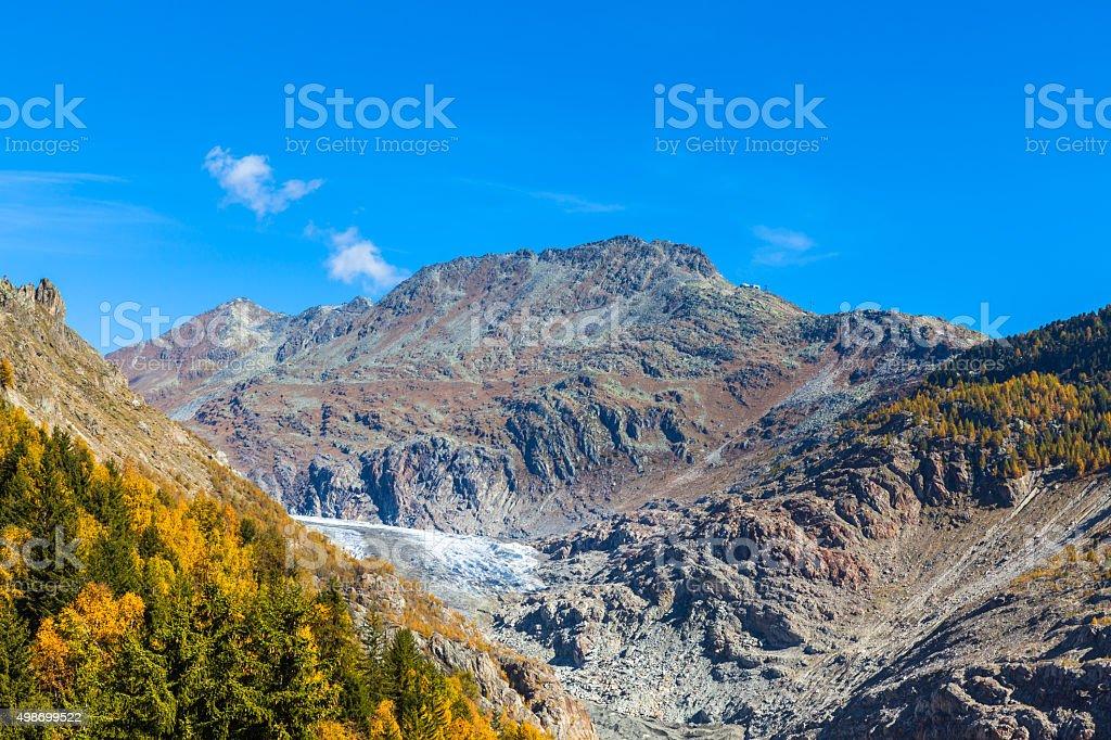 Autumn view of Aletsch glacier and Eggishorn stock photo
