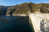 Autumn view of Dam of the Vacha (Antonivanovtsy) Reservoir, Bulgaria