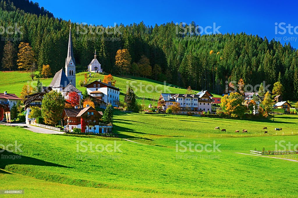 Autumn view of Gosau valley, Salzkammergut, Austria stock photo
