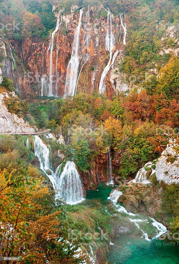 Autumn view of Great Waterfall in Plitvice Lakes, Croatia stock photo