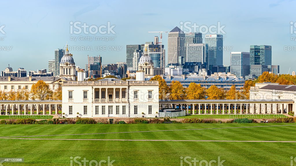 Autumn view of Greenwich park and Canary Wharf in London stock photo
