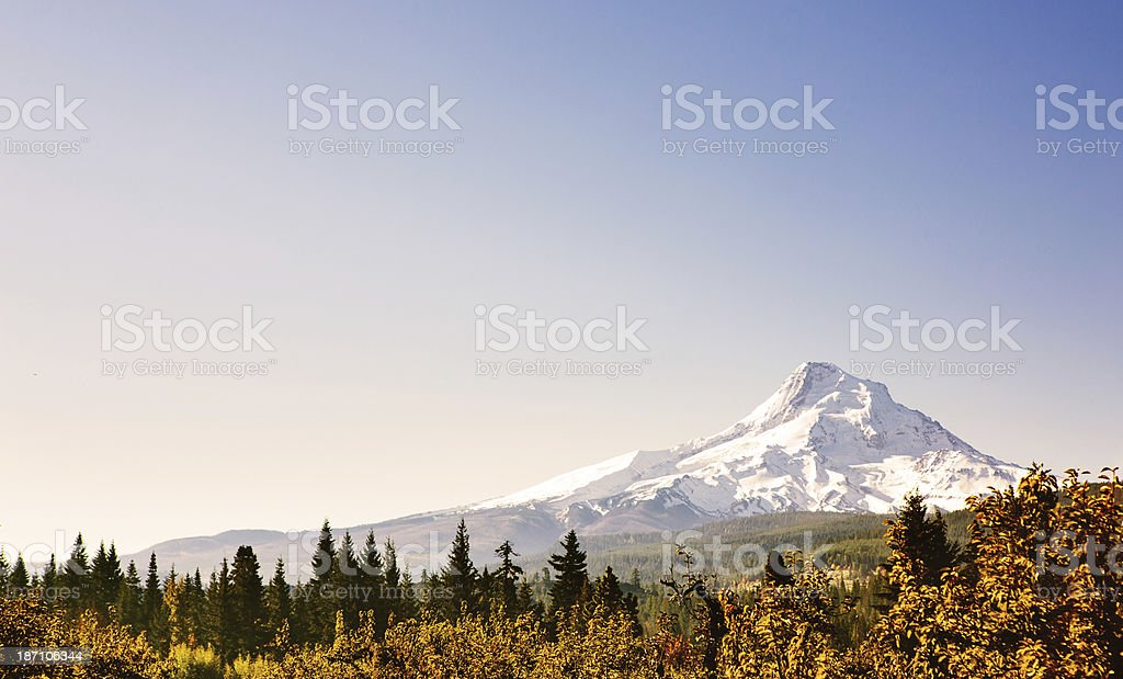 Autumn View of Mount Hood, Oregon State stock photo