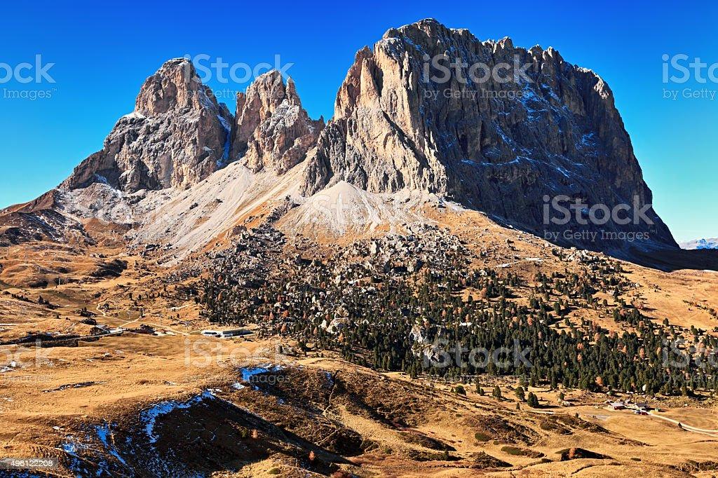 Autumn view of Plattkofel mountain, Dolomites, South Tyrol, Italy. stock photo