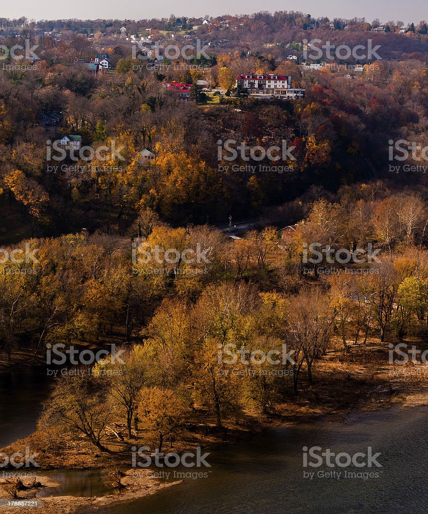 Autumn view of Potomac River and  Harper's Ferry, West Virginia, stock photo