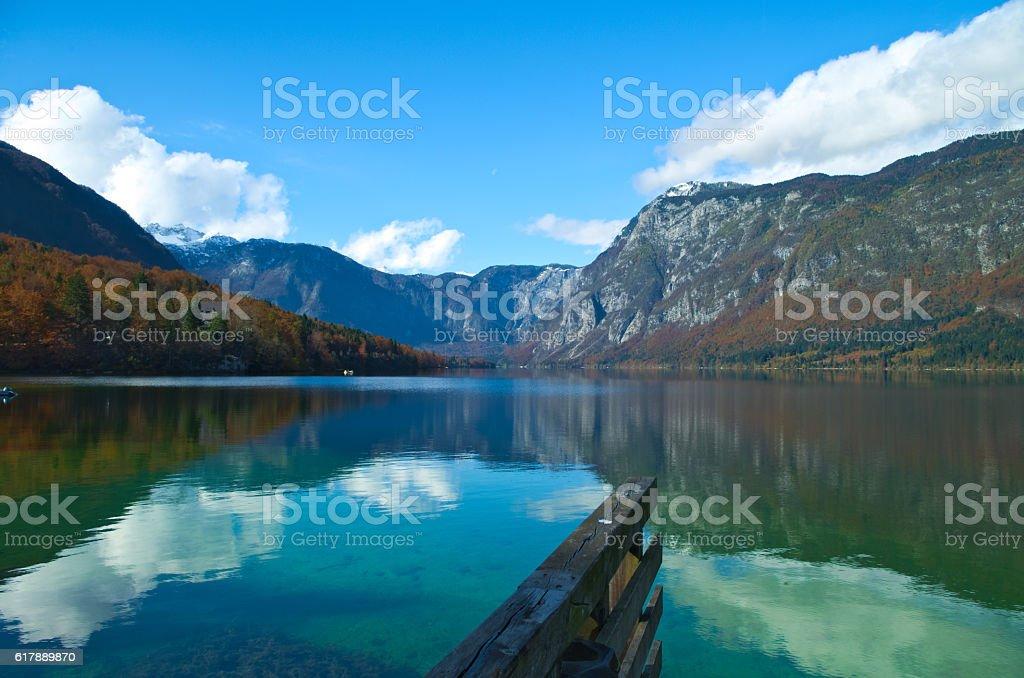 Autumn view of the Bohinj Lake stock photo