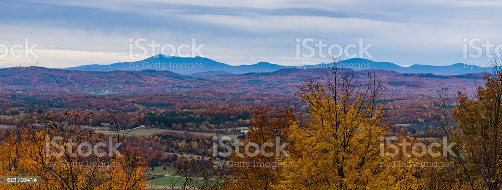 autumn view of the Green Mountains in Vermont stock photo