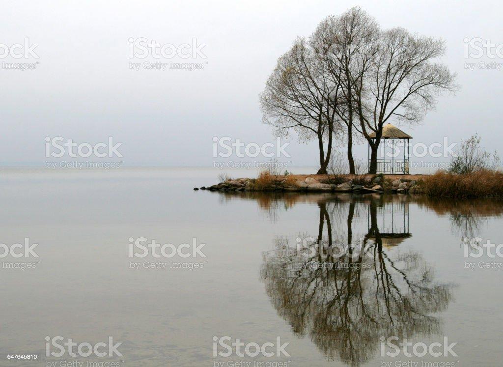 Autumn view of the Lake Pleshcheyevo, Pereslavl-Zalessky, Russia stock photo
