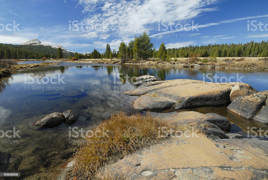 Autumn view of Tuolumne River in Yosemite royalty-free stock photo