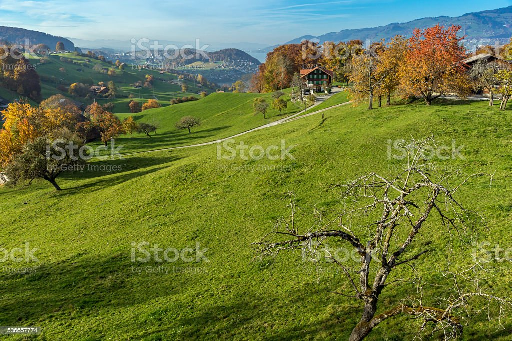 Autumn view of typical Switzerland village near town of Interlaken stock photo