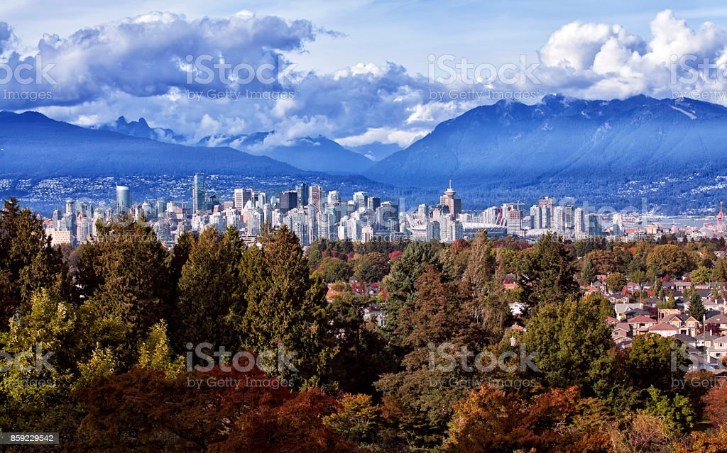 Vancouver city view from Queen Elizabeth Park in autumn, Canada