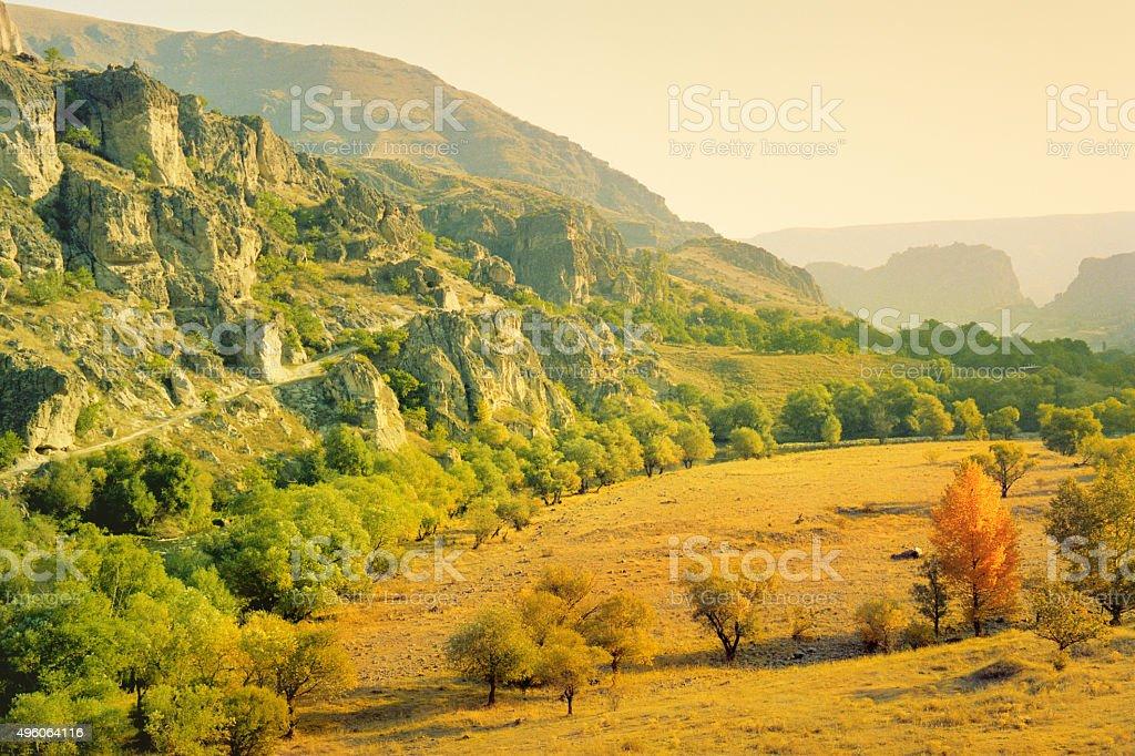 Autumn view of Vardzia, Georgia country stock photo
