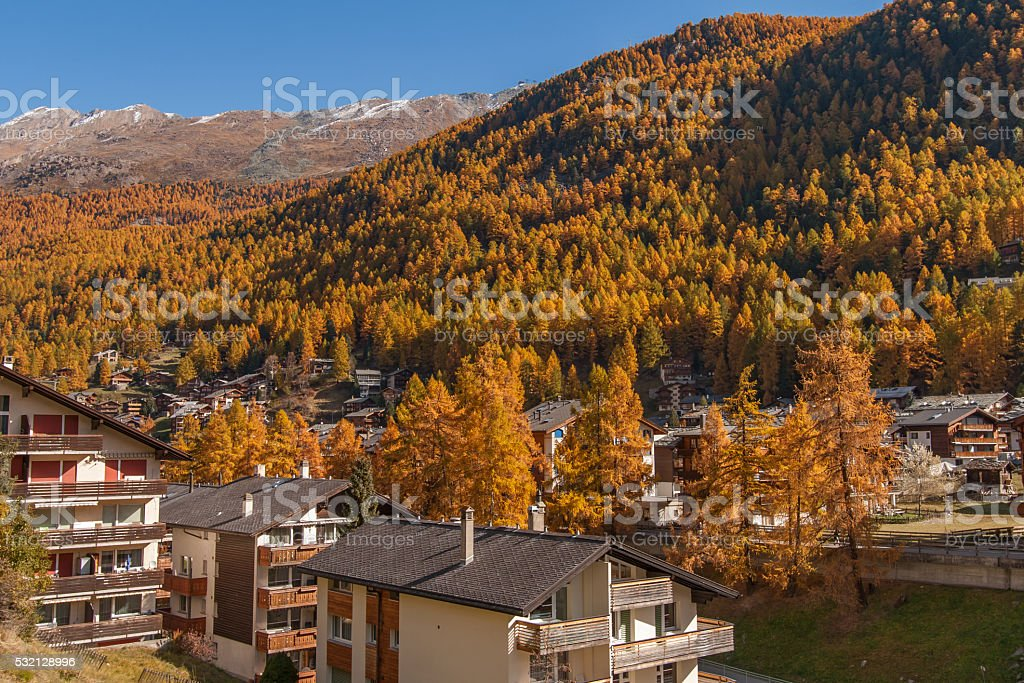 autumn view of Zermatt resort, Switzerland stock photo