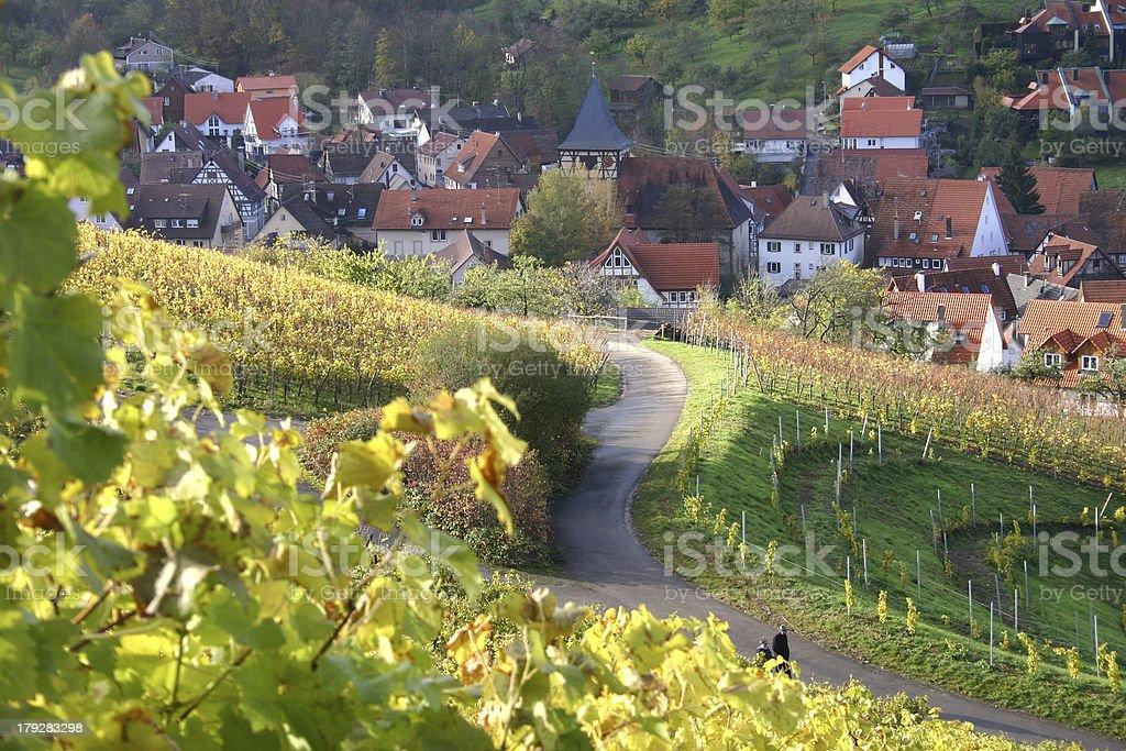 Autumn view over german wine village - 3 royalty-free stock photo