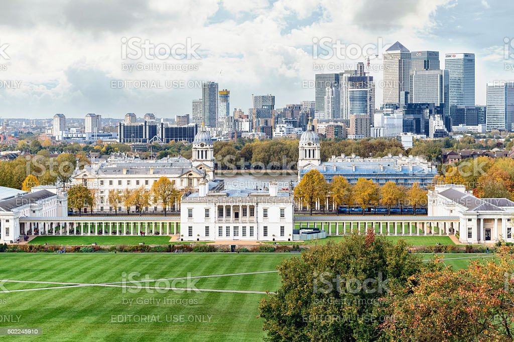 Autumn view to Greenwich and Canary Wharf stock photo