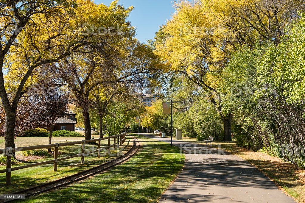 Autumn Walking Path in Kinsmen Park, Saskatoon Saskatchewan stock photo