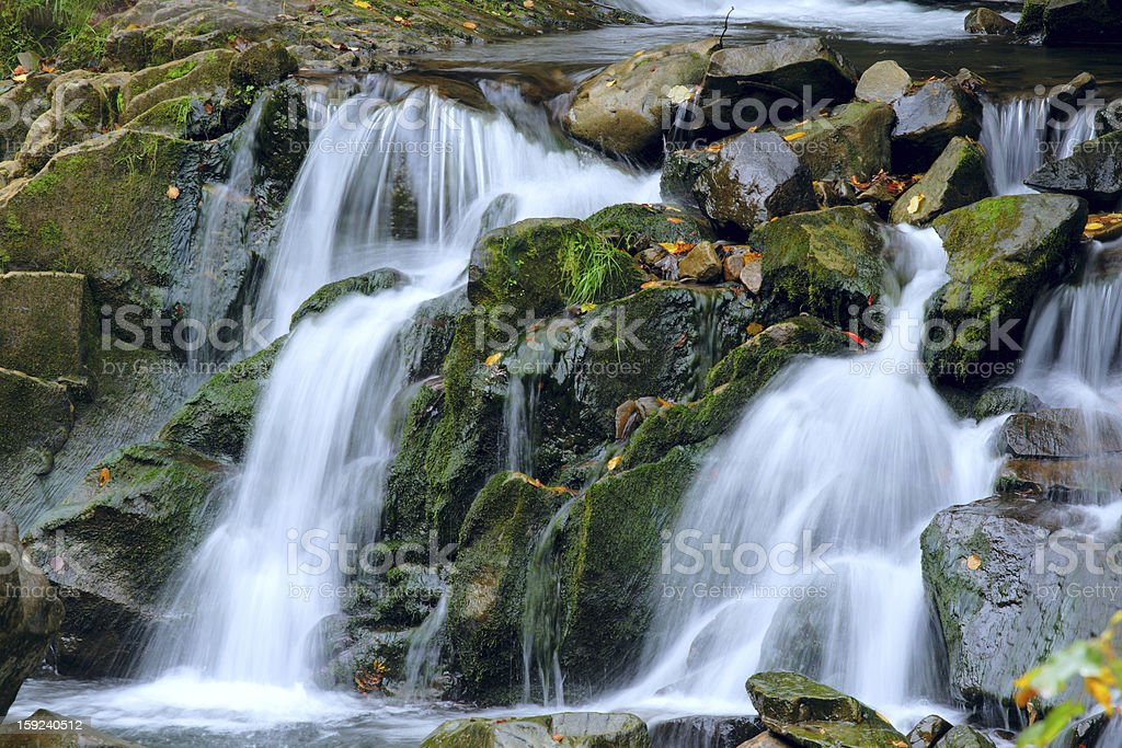 autumn waterfall in Carpaty mountain royalty-free stock photo