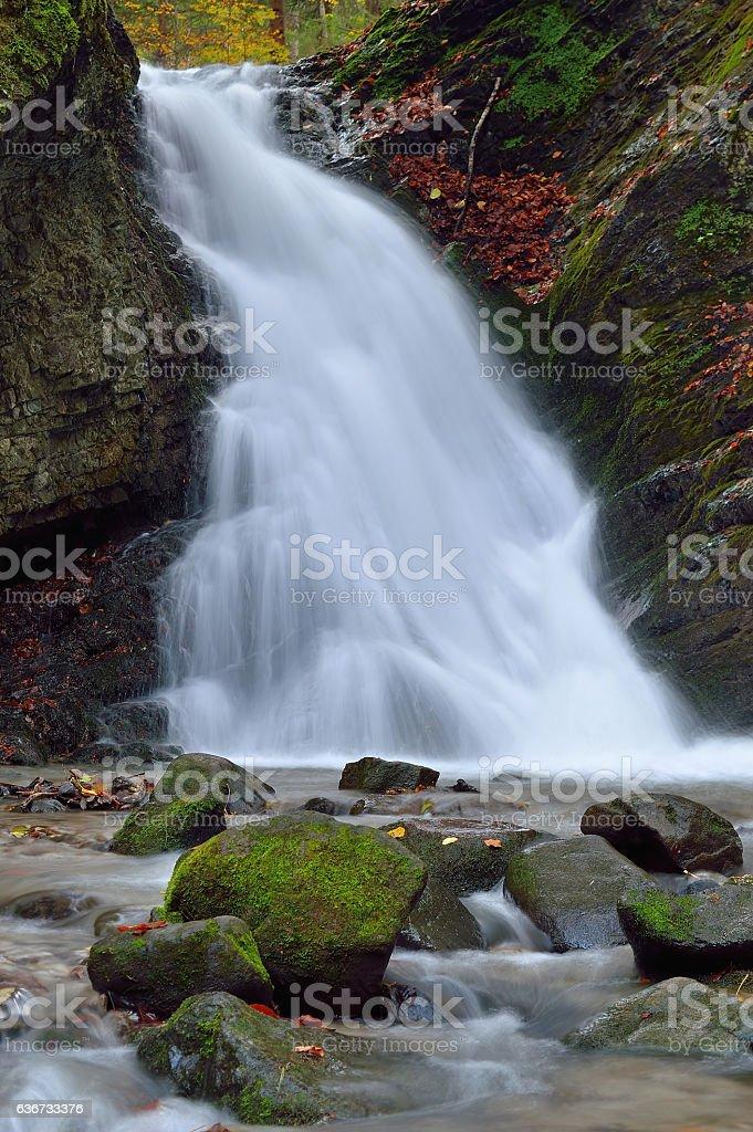 Autumn waterfall landscape stock photo