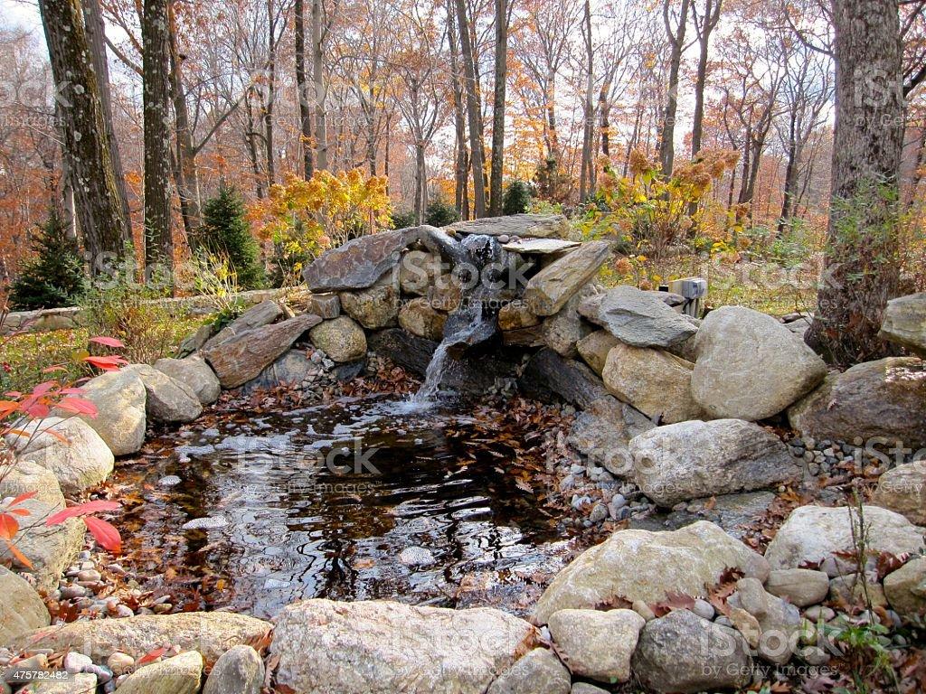 Autumn Waterfall Pond stock photo