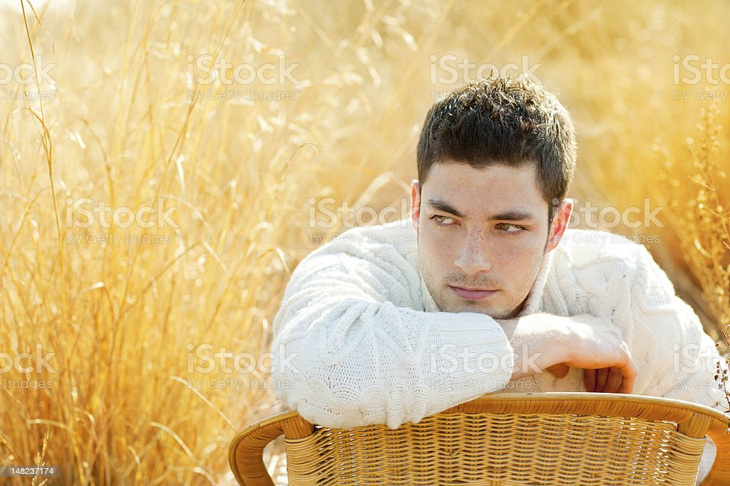Autumn winter man portrait  in golden grass field royalty-free stock photo