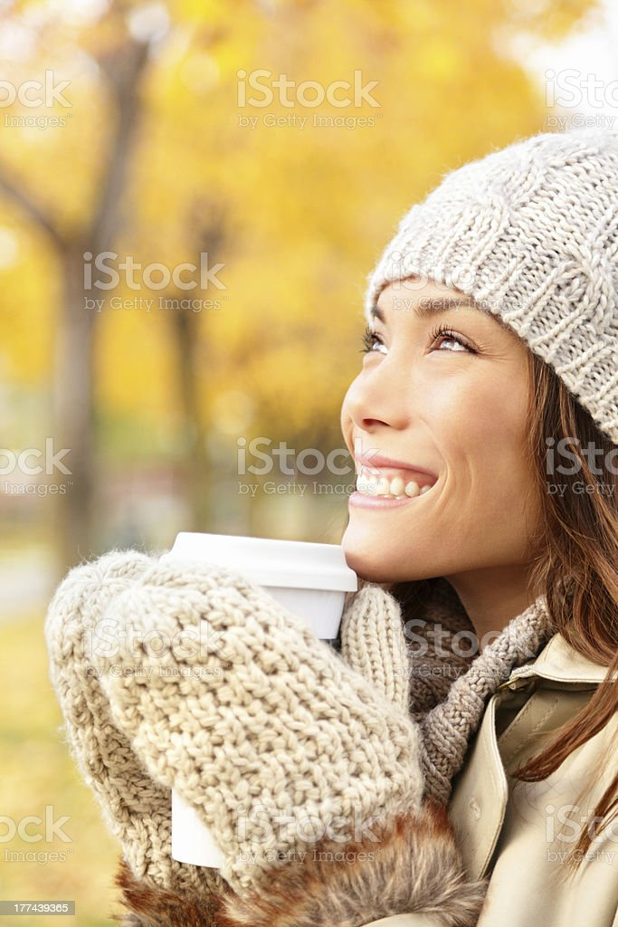 Autumn woman drinking coffee royalty-free stock photo