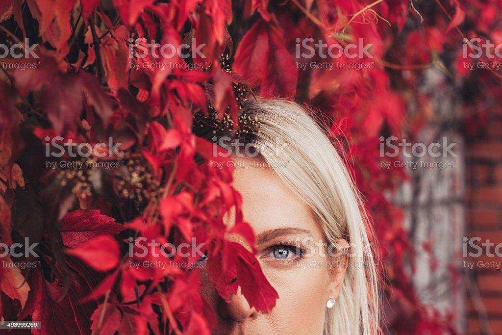 Autumn woman portrait stock photo