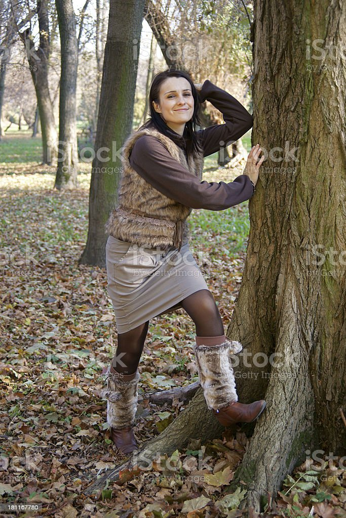 Autumn woman wearing leg warmers stock photo